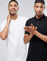 Asos 2 Pack Longline Pique Polo Shirt In Black/White SAVE