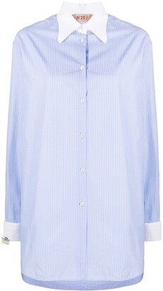 No.21 Pinstriped Long-Line Shirt
