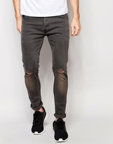 Brave Soul Charcoal Skinny Knee Ripped Jeans