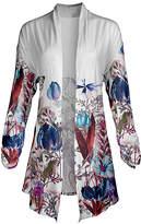 Lily Women's Open Cardigans PRP - Purple & White Floral Pointed-Hem Open Cardigan - Women & Plus