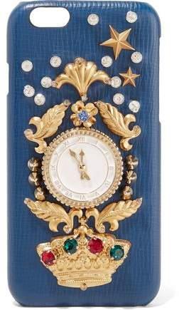 Dolce & Gabbana Crystal-Embellished Croc-Effect Leather Iphone 6 Case