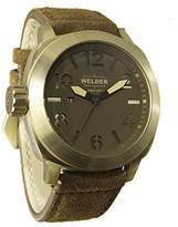 Welder Men's Quartz Watch with Red Dial Analogue Display and Brown Leather Strap K51-9102