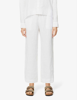 James Perse Cropped high-rise wide linen trousers