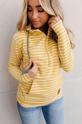 Ampersand Avenue HalfZip Hoodie - Mustard Stripe