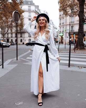 The Drop Women's White Polka Dot Printed Volume-Sleeve Side-Tie Maxi Wrap Dress by @officiallyquigley M