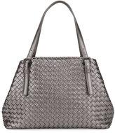 Bottega Veneta A-Shape Medium Woven Tote Bag, Dark Gray Silver