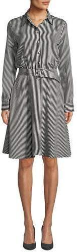 Piazza Sempione Striped Viscose Combo Flare Shirtdress