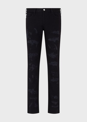 Emporio Armani J06 Slim-Fit, Stretch Cotton-Bull Jeans With Destroyed Details