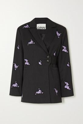 Ganni Belted Embroidered Wool Blazer - Black
