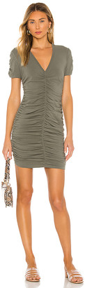 Monrow Shirred V Dress
