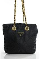 Prada Black Nylon Quilted Gold Tone Chain Shoulder Strap Small Tote Bag EVHB