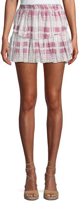LoveShackFancy Tiered Ruffle Plaid Silk Mini Skirt