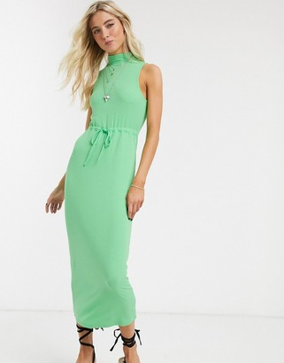 ASOS DESIGN high neck ribbed midi dress with drawstring in apple green