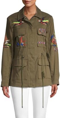 Tanya Taylor Alina Embroidered Twill Military Jacket