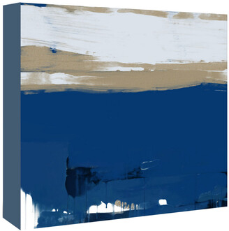 American Flat Americanflat White And Blue Abstract By Kasi Minami Canvas Artwork