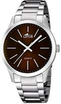 Lotus Men's Quartz Watch with Brown Dial Analogue Display and Silver Stainless Steel Bracelet 15959/2