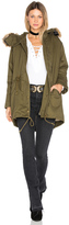 J.o.a. Drawstring Jacket with Faux Fur Trim