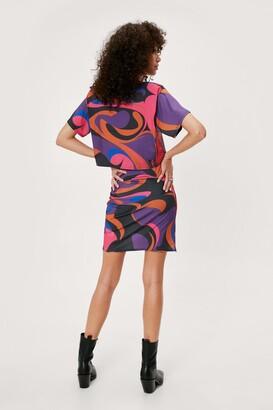 Nasty Gal Womens Printed T-Shirt and Wrap Mini Skirt Set - Pink - 14