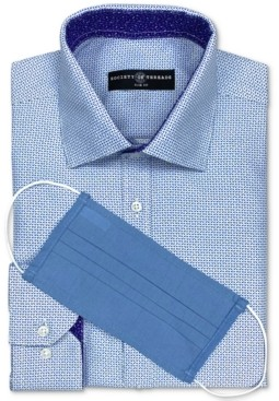Society of Threads Men's Slim-Fit Non-Iron Performance Geo-Print Dress Shirt with Pleated Face Mask