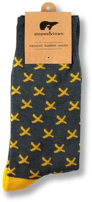 Slopes & Town Grey And Yellow Bamboo Socks