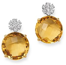 Bloomingdale's Citrine & Diamond Drop Earrings in 14K Yellow Gold - 100% Exclusive