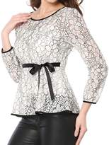 Allegra K Women's Self-Tie Waist Bi-Color Contrast Lace Peplum Top L