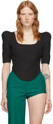 pushBUTTON Black Square Neck Crop Top