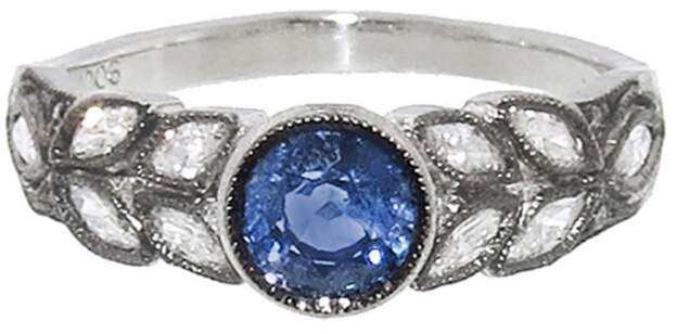 Cathy Waterman Small Blue Sapphire Garland Ring - Platinum