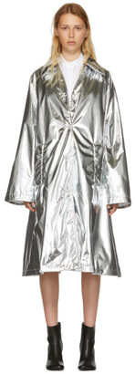 MM6 MAISON MARGIELA Silver Shiny A-Line Trench Coat