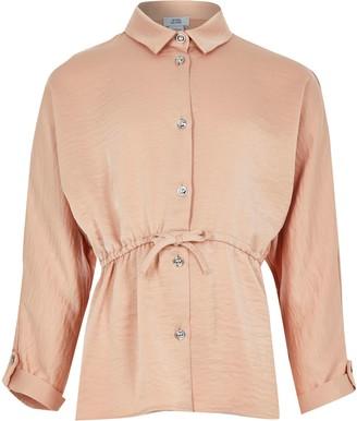 River Island Girls Beige cinched waist shirt