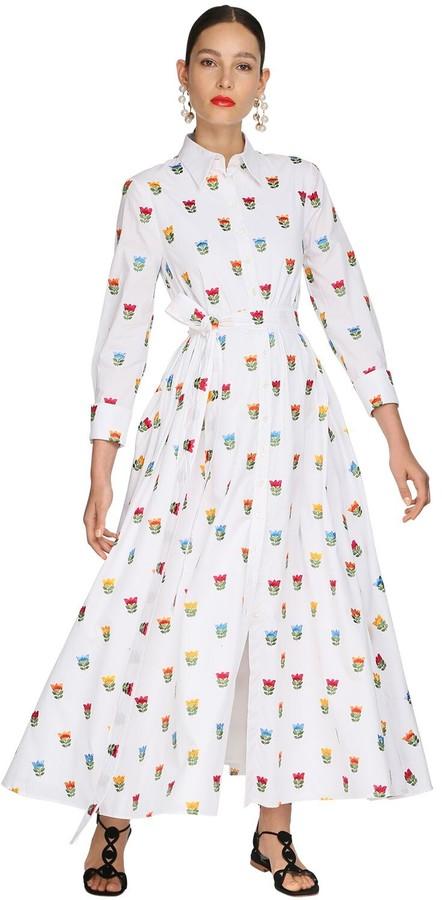 Carolina Herrera Floral Embroidered Poplin Shirt Dress