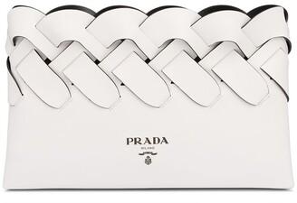 Prada logo print woven clutch