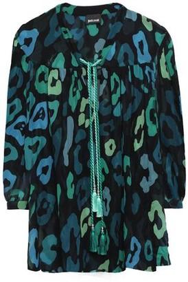 Just Cavalli Tasseled Leopard-print Chiffon Blouse