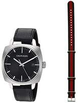 Calvin Klein Fraternity - K9N111C1 (Stainless Steel/Black PVD/Black Leather Strap) Watches