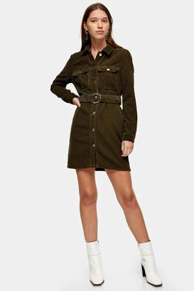 Topshop Womens Considered Khaki Long Sleeve Corduroy Belted Dress With Recycled Cotton - Khaki