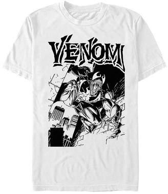 Fifth Sun Marvel Venom Black And White Portrait Mens Crew Neck Short Sleeve Graphic T-Shirt