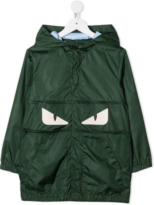 Fendi Kids Hooded Zip-Up Raincoat
