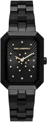 Karl Lagerfeld Paris Klassic Linda Stainless Steel 3-Link Bracelet Watch