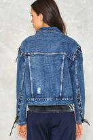 Nasty Gal Cut Ties Lace-up Denim Jacket