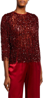Naeem Khan Sequin-Fringed Lace Top