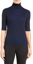 Women's Classiques Entier Merino Wool Blend Two-Tone Ribbed Turtleneck