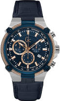 Gc Y24001g7 Cableforce Stainless Steel And Leather Chronograph Watch