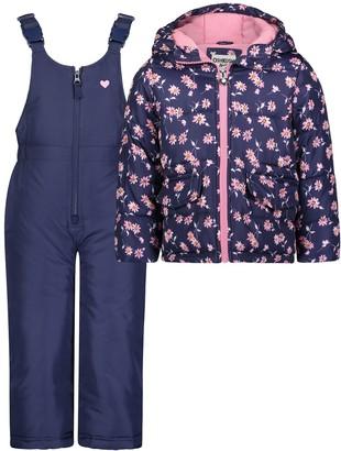 Osh Kosh Girls 4-6x Floral Print Snowsuit