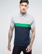 Barbour Sherburn Block Polo Pique Tailored Slim Fit Pheasant Logo In Grey