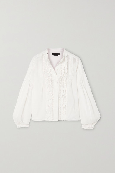 Isabel Marant Samaly Crocheted Lace-trimmed Ruffled Pintucked Ramie Blouse - White