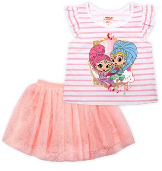 Children's Apparel Network Girls' Casual Skirts PEACH - Shimmer & Shine Peach Glitter Skirt Set - Toddler