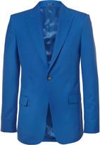 Alexander McQueen Blue Slim-Fit Wool Blazer
