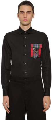 Alexander McQueen Cotton Poplin Shirt W/tartan Pocket