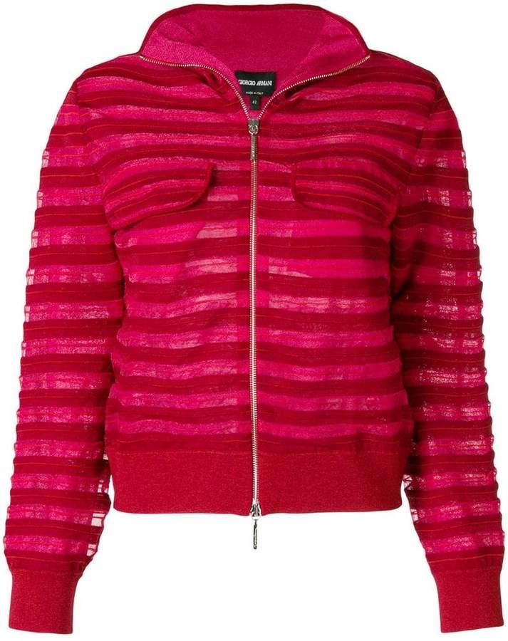 Giorgio Armani tonal stripe zipped jacket