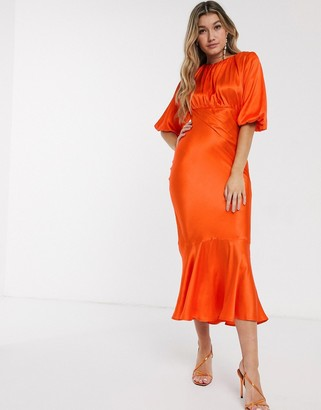 Asos Design DESIGN satin bias midi dress with puff sleeves in coral
